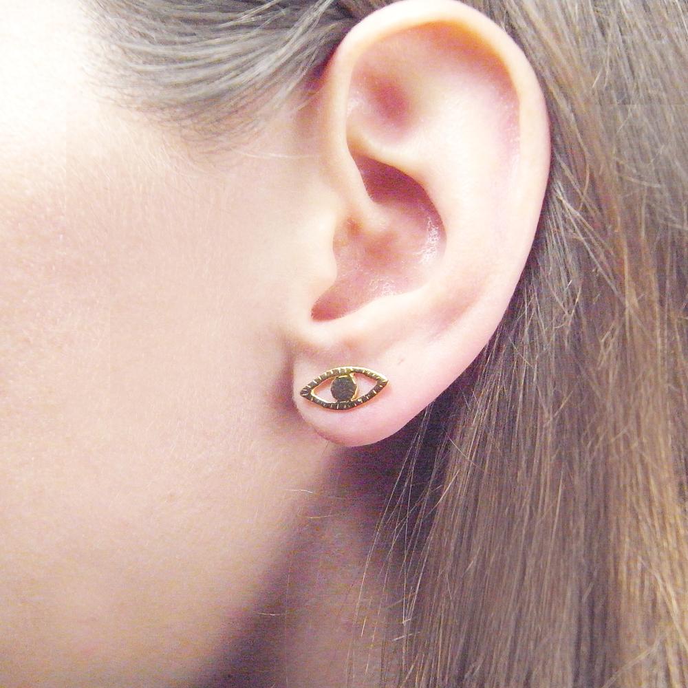 Momocreatura: Eye and ray earrings gold vermeil | Jewelry > Earrings -  Hiphunters Shop
