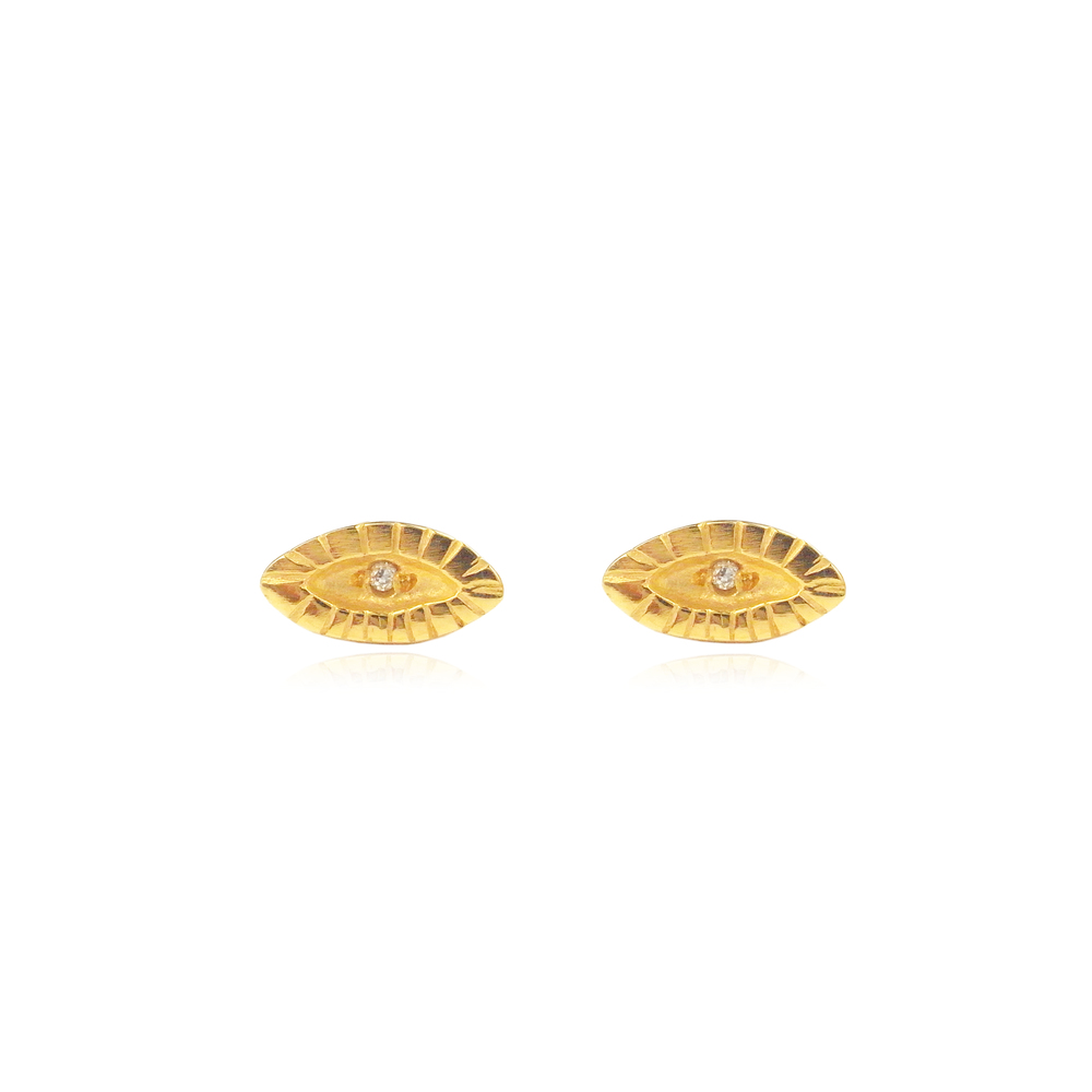 Tiny eye studs 22ct gold vermeil