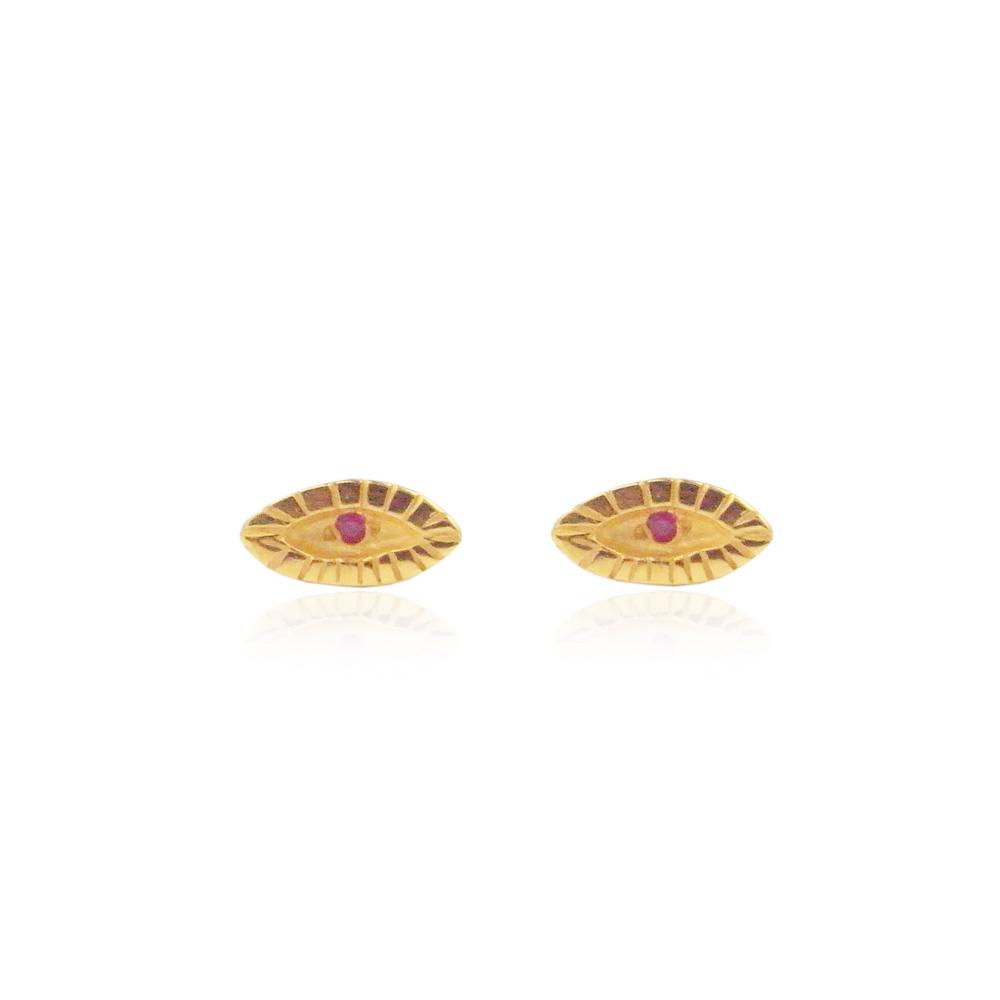 Momocreatura: Tiny eye studs 22ct gold vermeil | Jewelry > Earrings -  Hiphunters Shop
