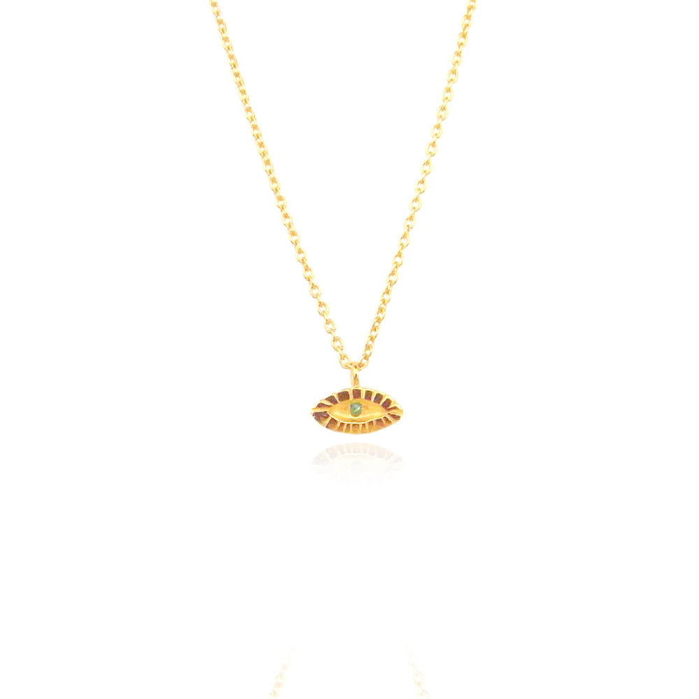 Momocreatura: Tiny eye necklace 22ct gold vermeil | Jewelry > Necklaces -  Hiphunters Shop