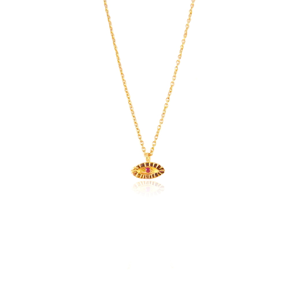 Tiny eye necklace 22ct gold vermeil