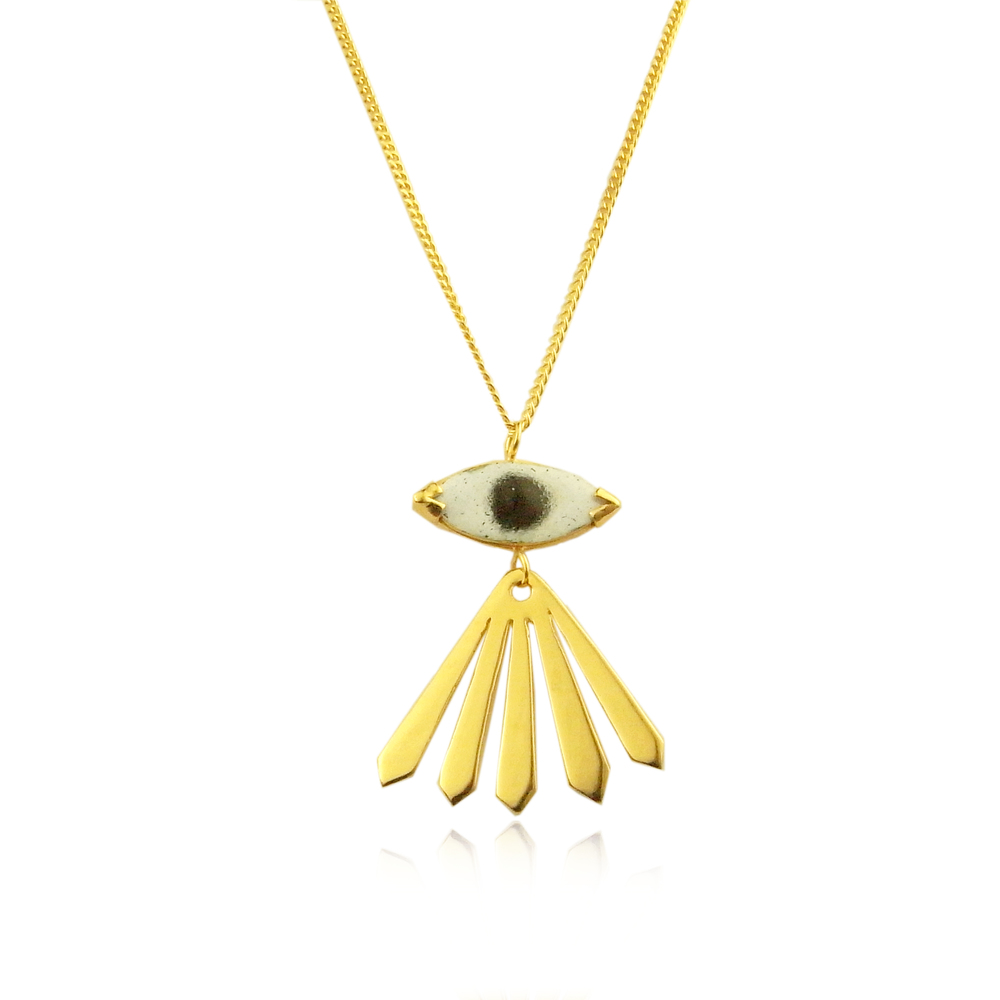 Momocreatura: Enamel eye and ray long necklace gold  | Jewelry > Necklaces -  Hiphunters Shop