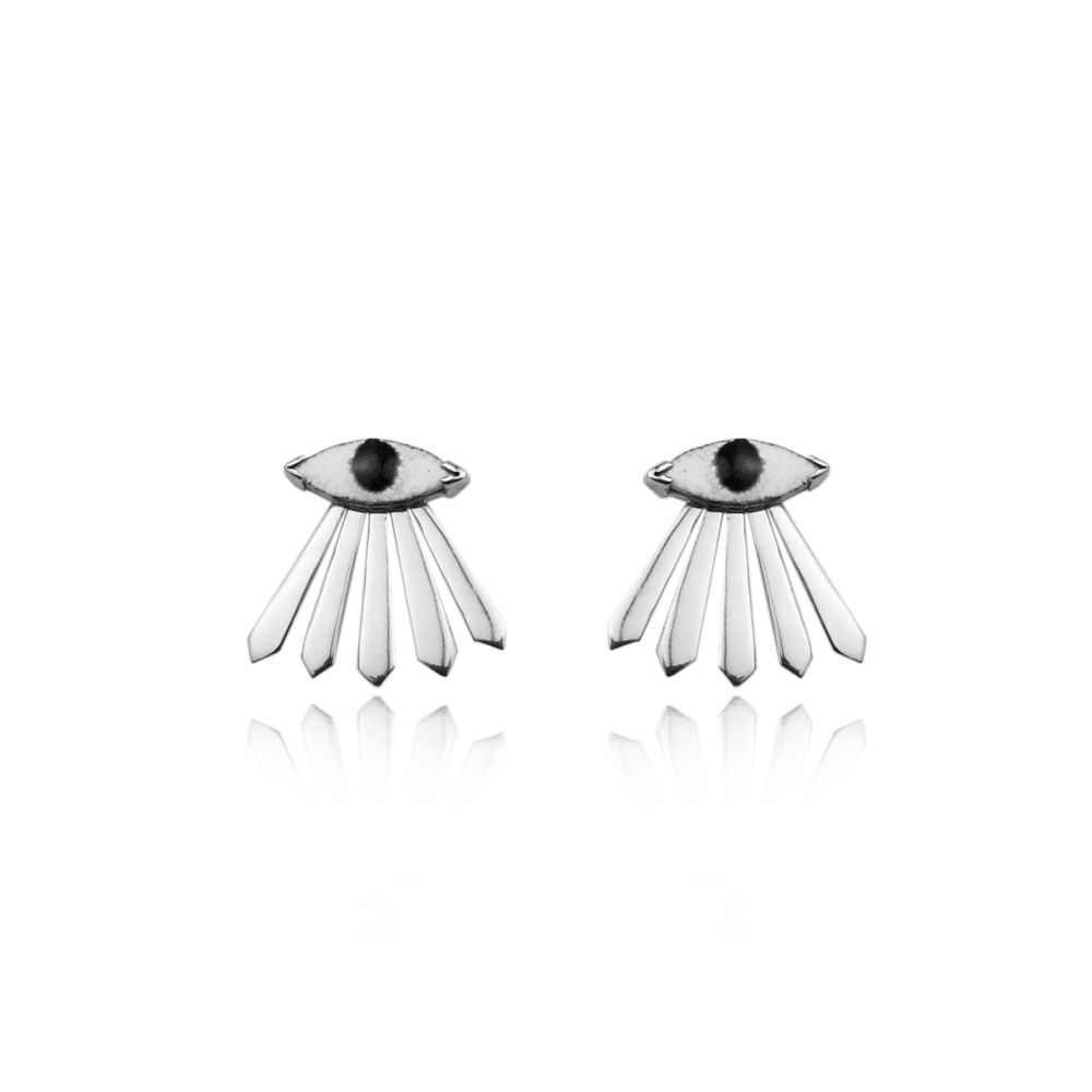 Enamel eye and ray earrings silver