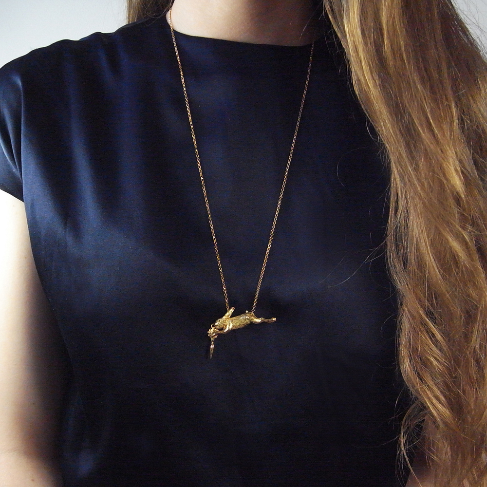 Momocreatura: Eat and vomit (rabbit & carrot) necklace gold | Jewelry > Necklaces -  Hiphunters Shop