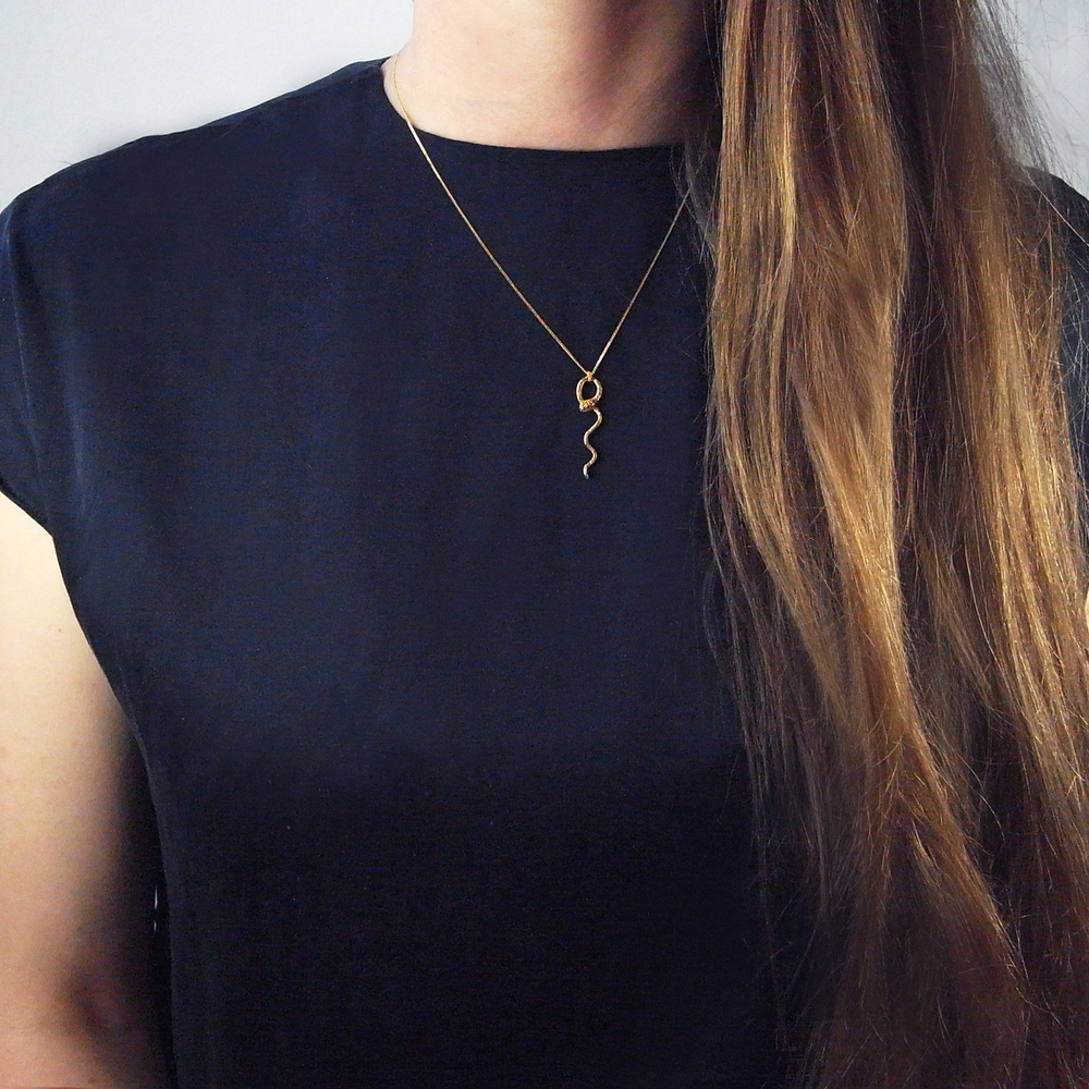 Momocreatura: Waving Snake Necklace - Gold Vermeil | Jewelry > Necklaces -  Hiphunters Shop