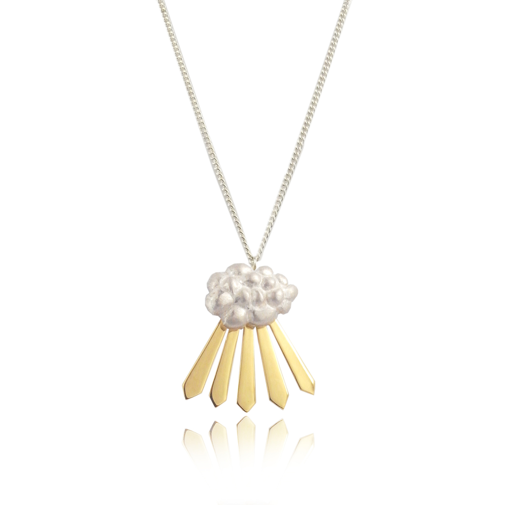 Cloud and Rays of Sunshine Necklace Yellow Gold