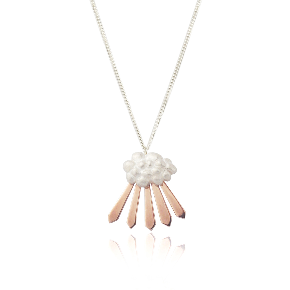 Cloud and Rays of Sunshine Necklace Rose Gold