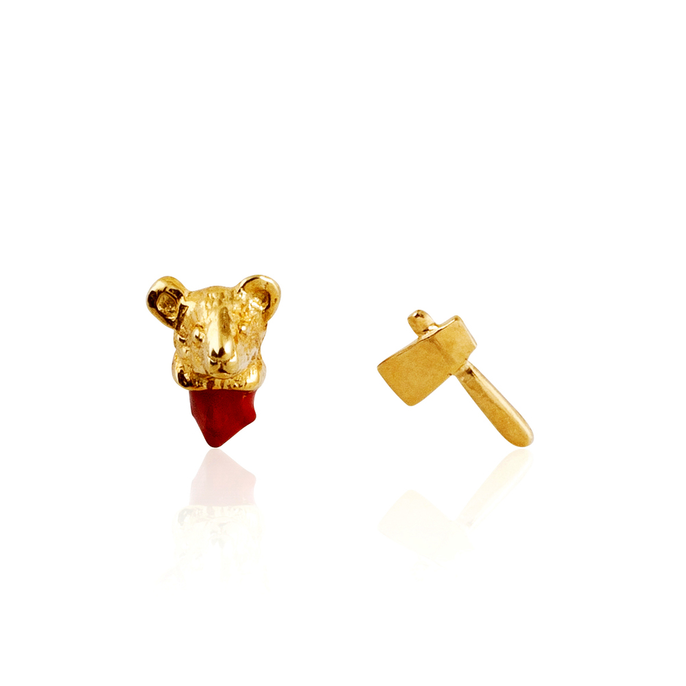 Head Off Mouse Earrings Gold