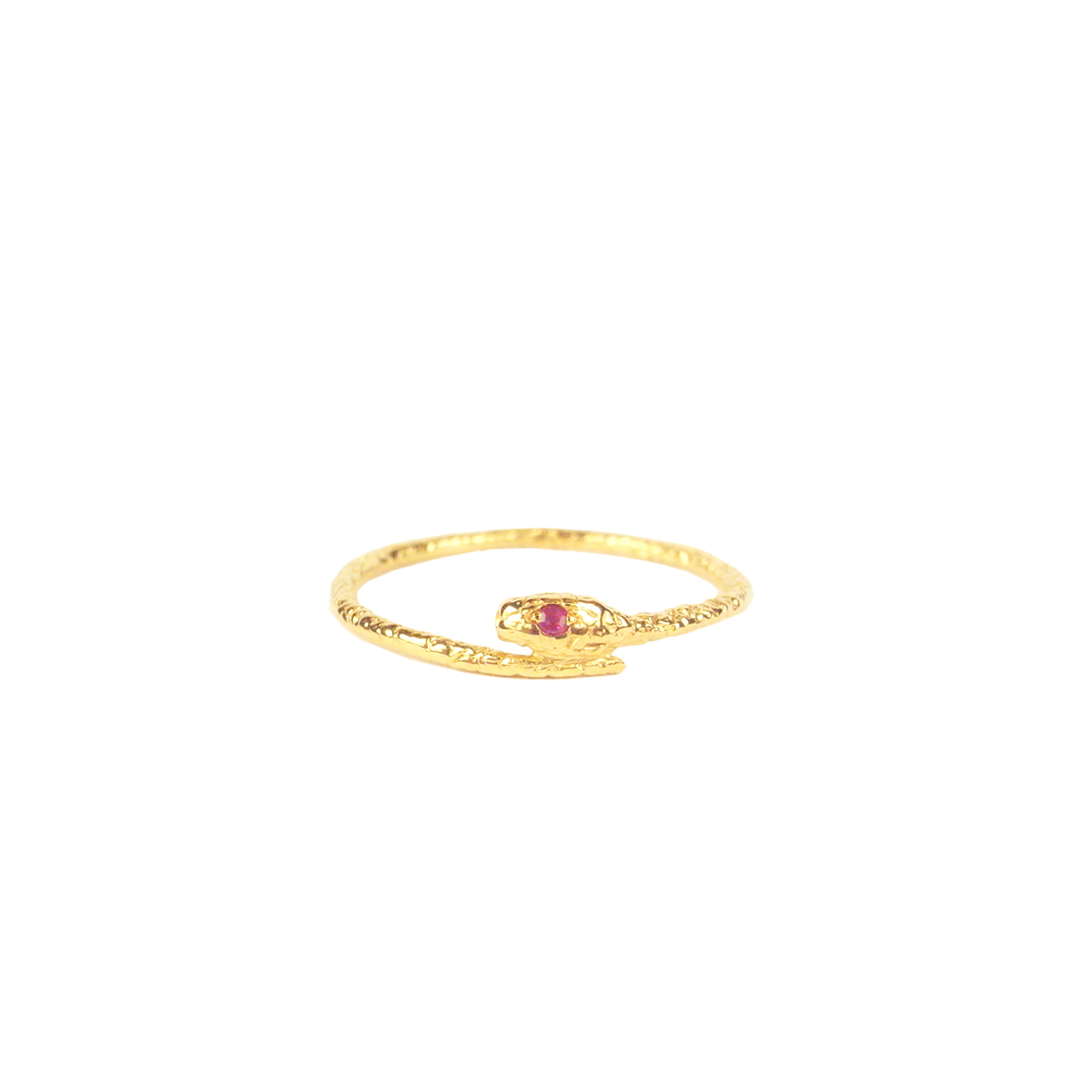 Tiny snake ring - Gold vermeil - Ruby eyes