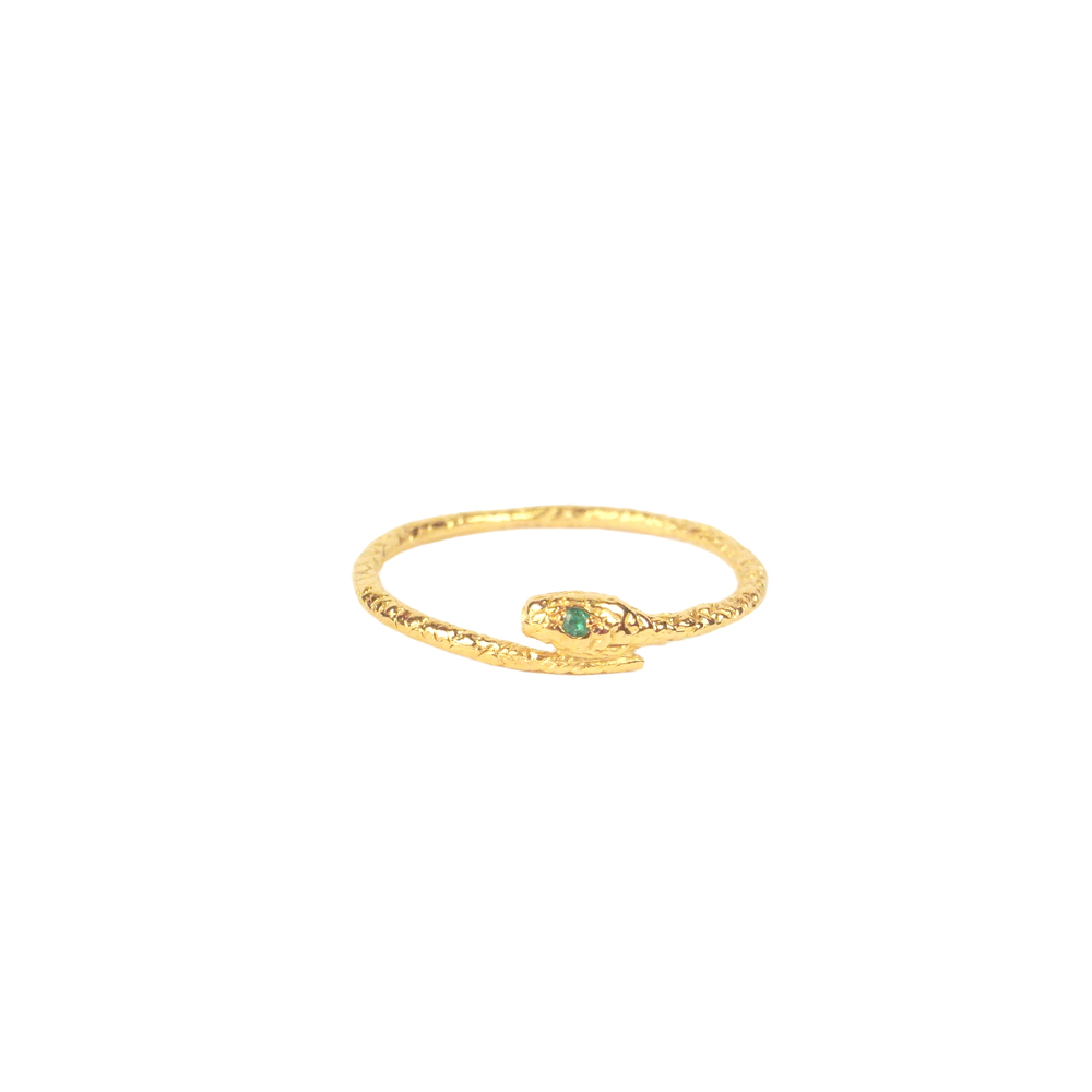 Tiny snake ring - Gold vermeil - Emerald eyes