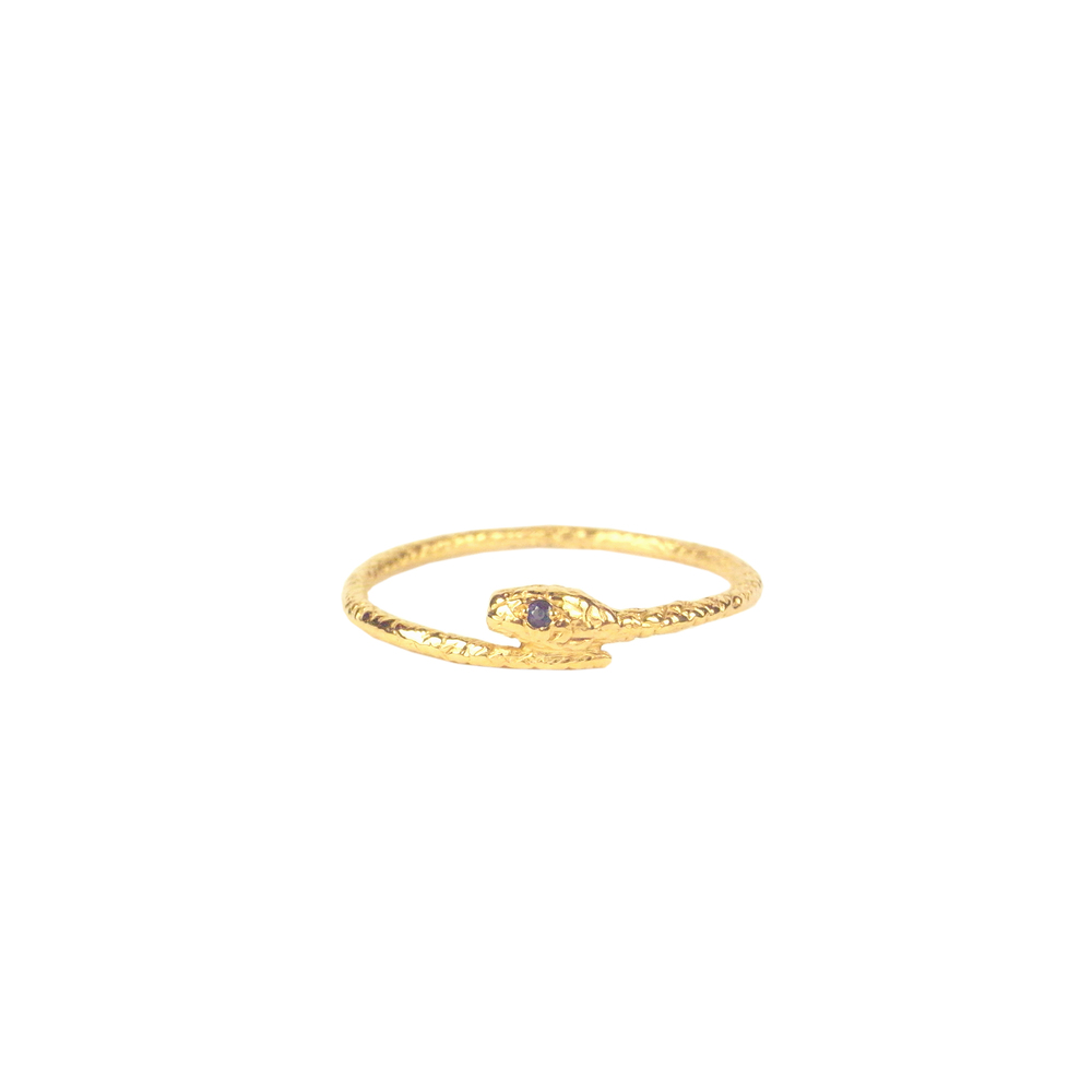 Tiny snake ring - Gold vermeil - Sapphire eyes