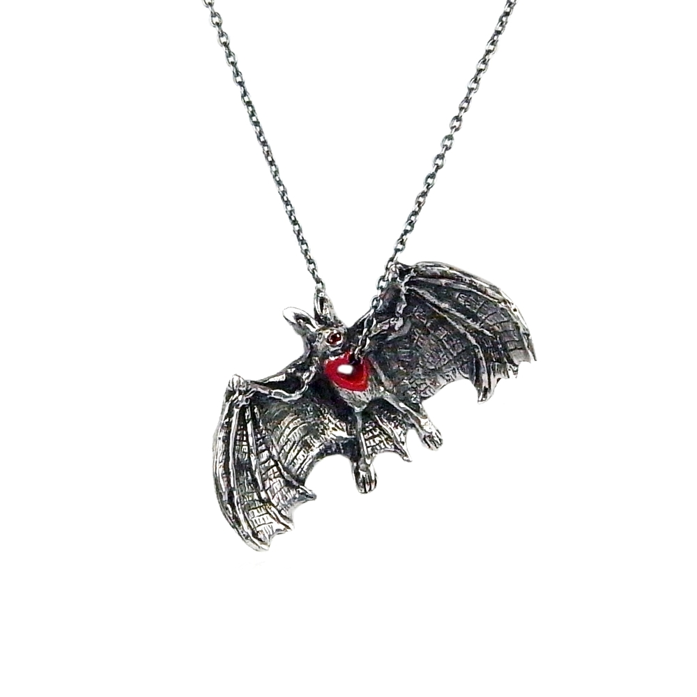 Stolen heart bat necklace silver