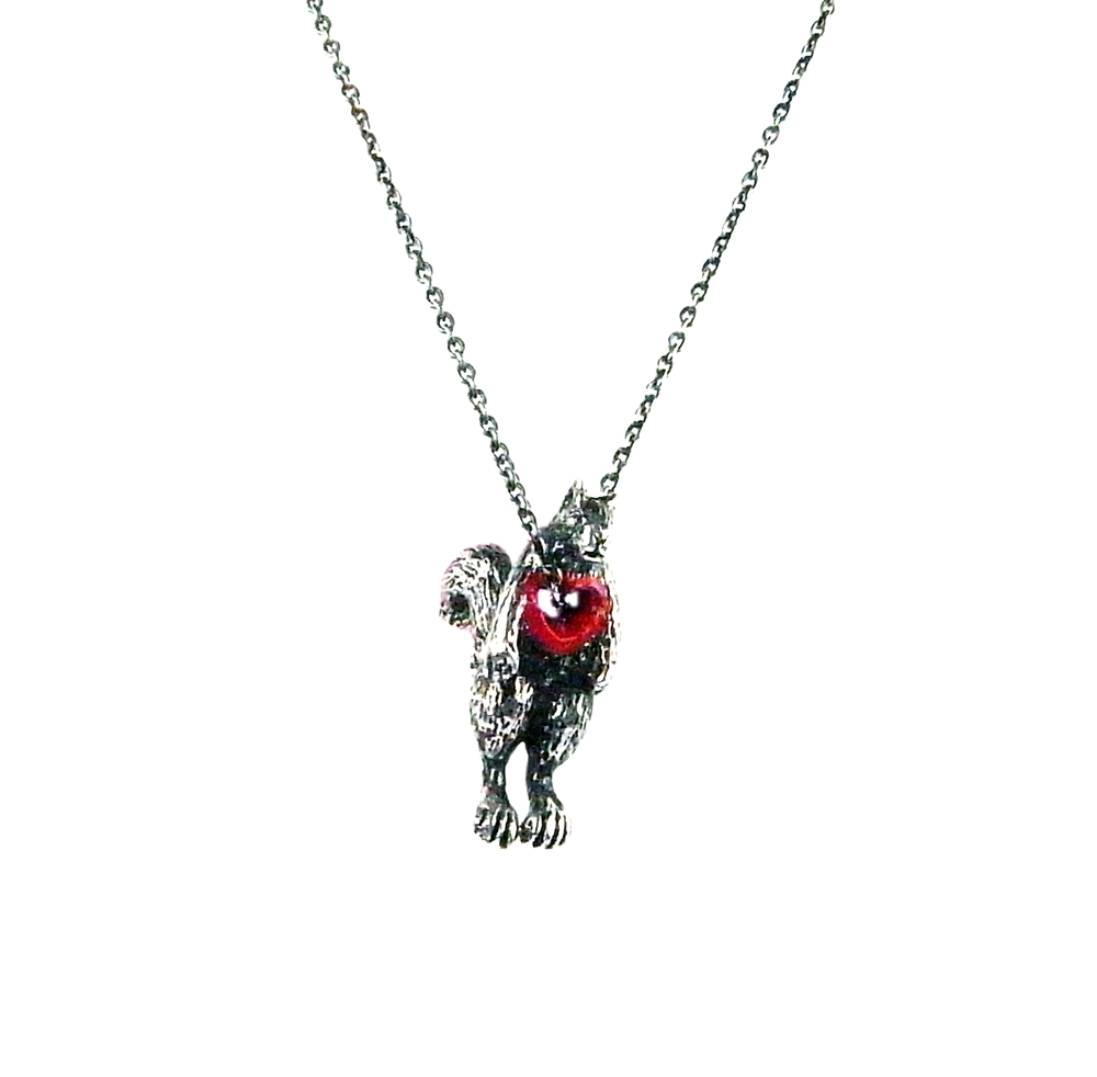 Stolen heart squirrel necklace silver