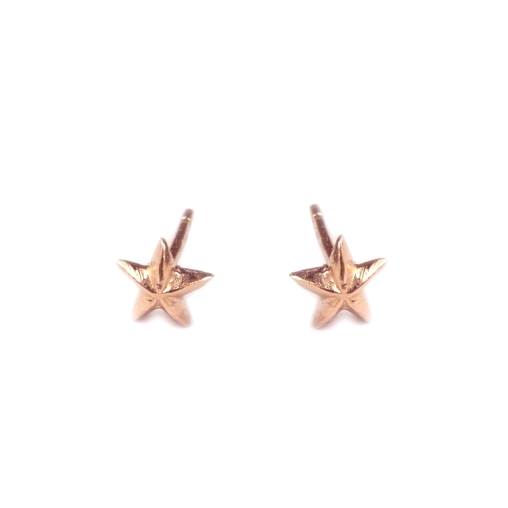 Tiny Star Stud Earrings Rose Gold