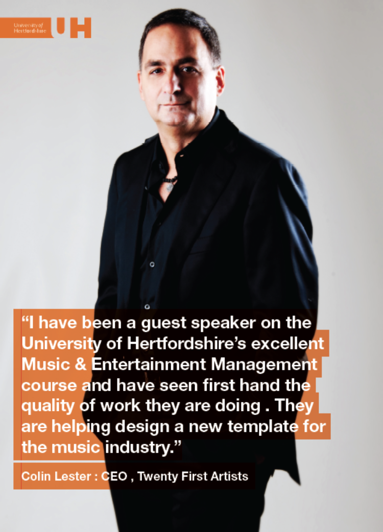 Colin Lester holds a doctorate of the University of Hertfordshire. Colin speaks regularily on the subject of Music Management