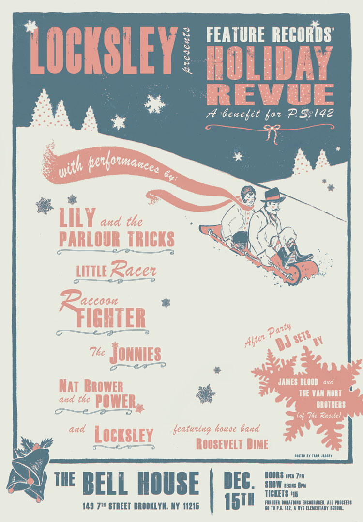 Gig poster for Locksey's Holiday Revue at The Bell House in Brooklyn
