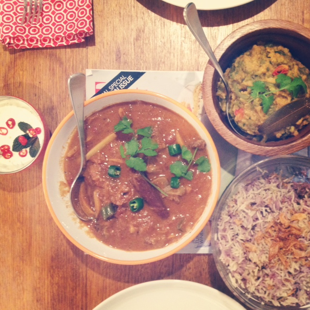 My yummy Indian feast! Raita, Beef Curry, Dahl with Wild Rice by Cle-ann