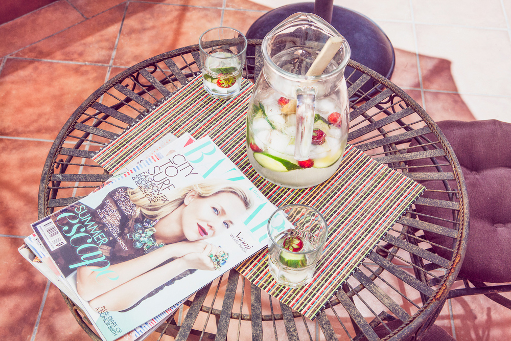 Fresh Cucumber Gin & Tonic with Strawberries. Photograph by Hugh Adams, styling by Cle-ann.