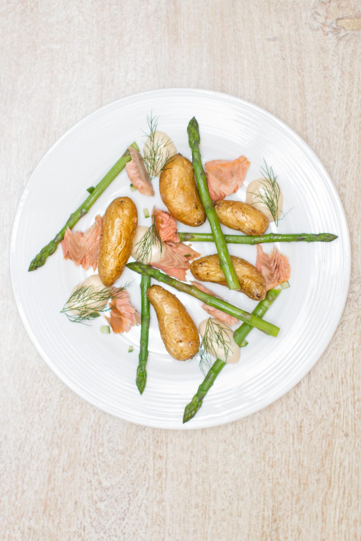 Hot Smoked Salmon w Kipfler Potatoes & Horseradish Cream. Photograph, recipe & styling byCle-ann.