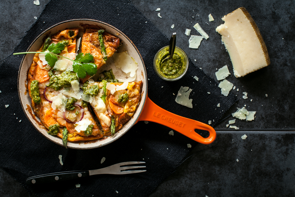 Sweet Potato & Manchego Tortilla w Coriander Mojo. Cast iron pan in volcanic from Le Creuset. Recipe and styling by Cle-ann, photo by Hugh Adams.
