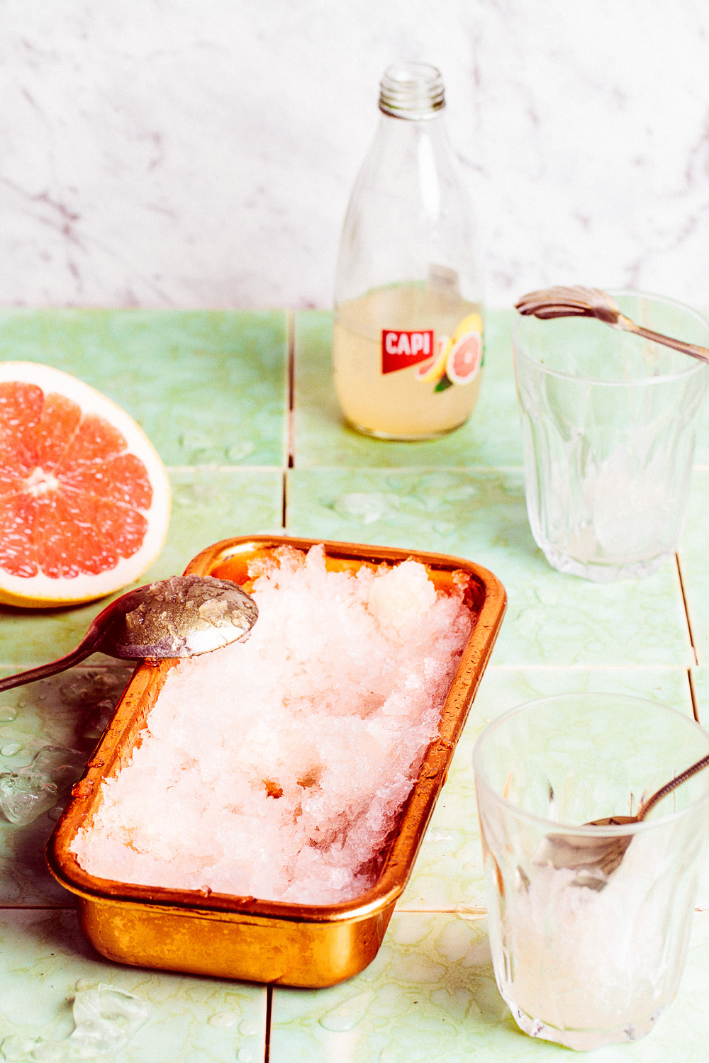 Grapefruit Granita,  CAPI  grapefruit sparkling soda. Recipe and styling by   Cle-ann  , photo by   Hugh Adams  .