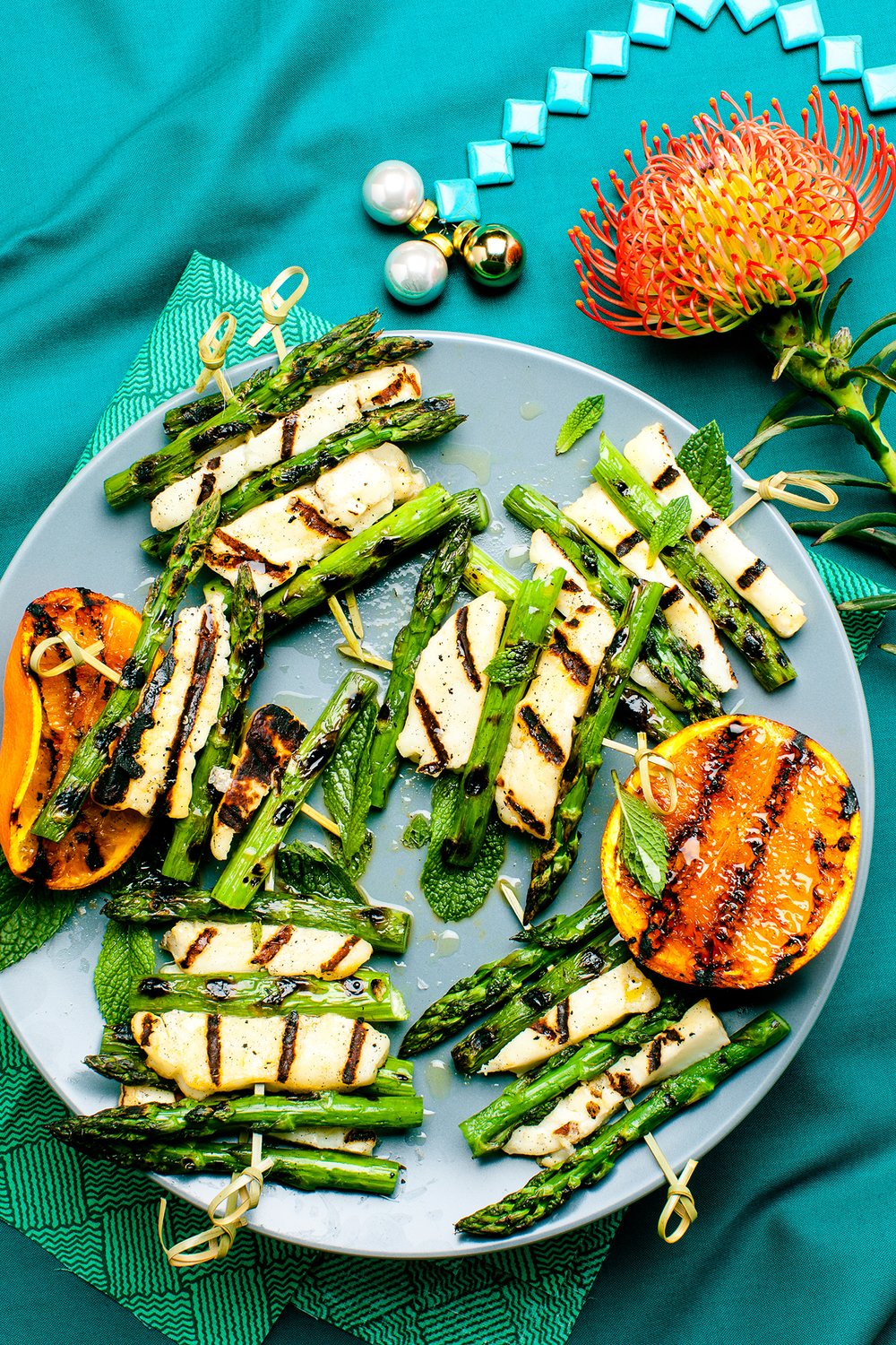 Grilled Haloumi and Asparagus with Orange & Mint, appeared originally in Yum. Gluten Free Magazine Dec Issue. Recipe and styling by Cle-ann, photo by Hugh Adams.