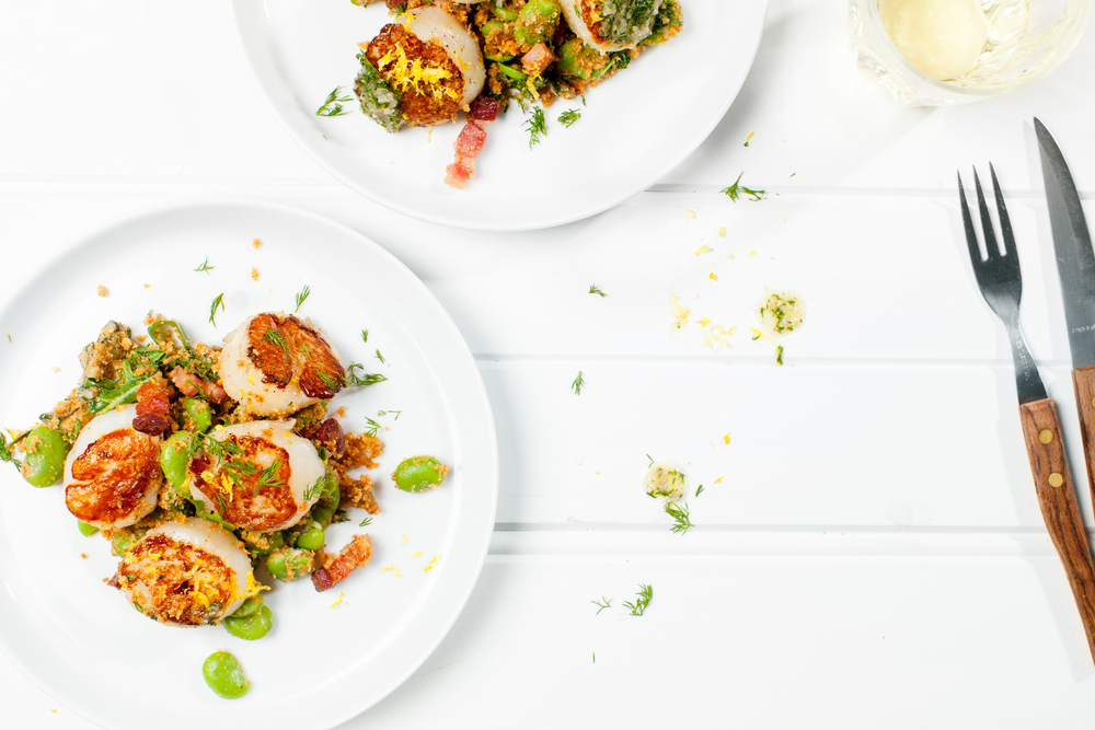Grilled Scallops w Almond, Pancetta & Broad Bean Salad. Recipe and styling by Cle-ann, photo by Hugh Adams.