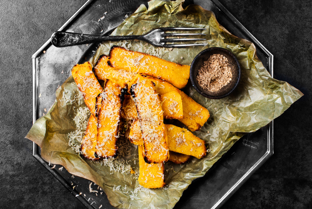 Polenta Buckwheat Chips w Porcini Salt. Recipe and styling by Cle-ann, photo by Hugh Adams.