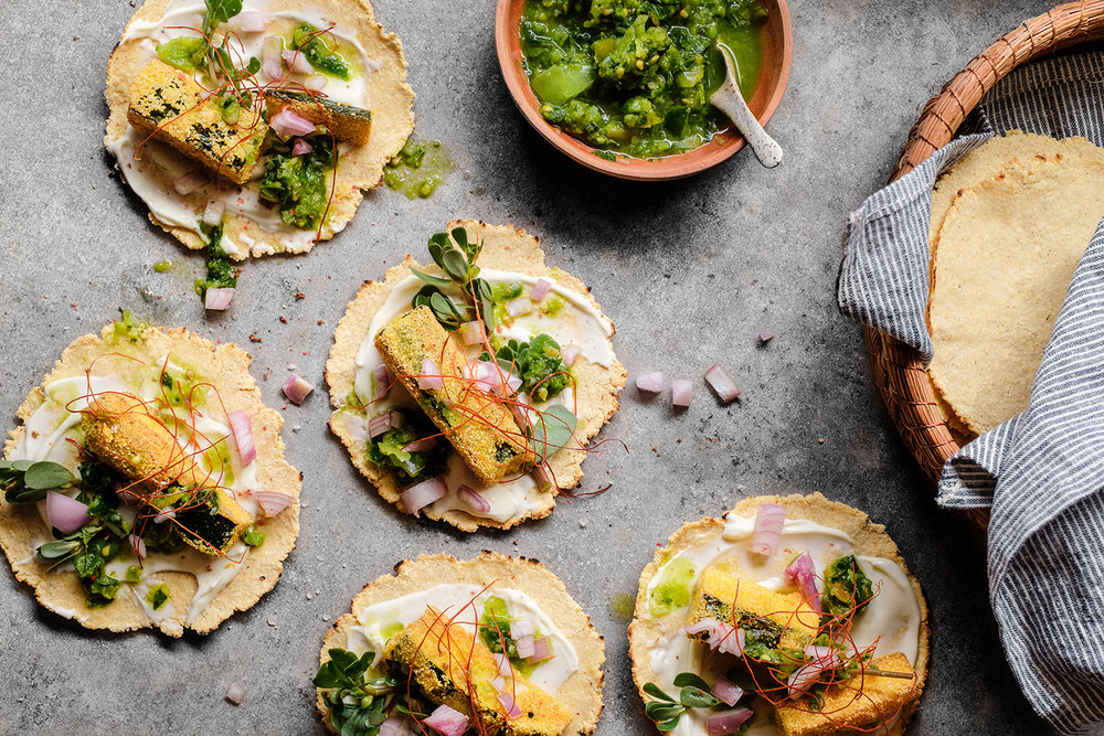 Crispy Zucchini Tacos w Raw Green Salsa and Homemade Corn Tortillas. Recipe and styling by  Cle-ann , photo by  Hugh Adams .