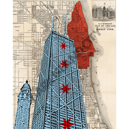 Chicago John Hancock Center Chicago Water Tower 1871 Map Showing
