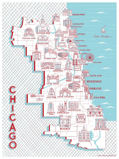 Chicago Map of Landmarks — TRANSISTOR on