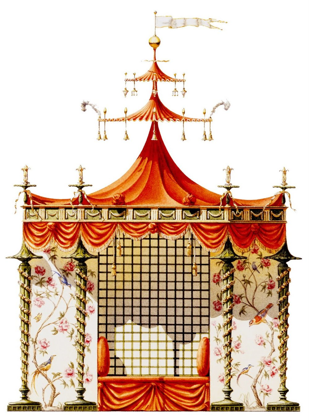 A watercolour rendition by Andrew Zega and Bernd H. Dams of the Chinese Tent for Trianon, designed 1780 and commissioned by Marie-Antoinette, conceived to embellish her gardens at Trianon. Zega and Dams, skilled artists, architects and historians delve into the fanciful and exotic Chinoiserie style of Europe of the mid to late eighteenth century.
