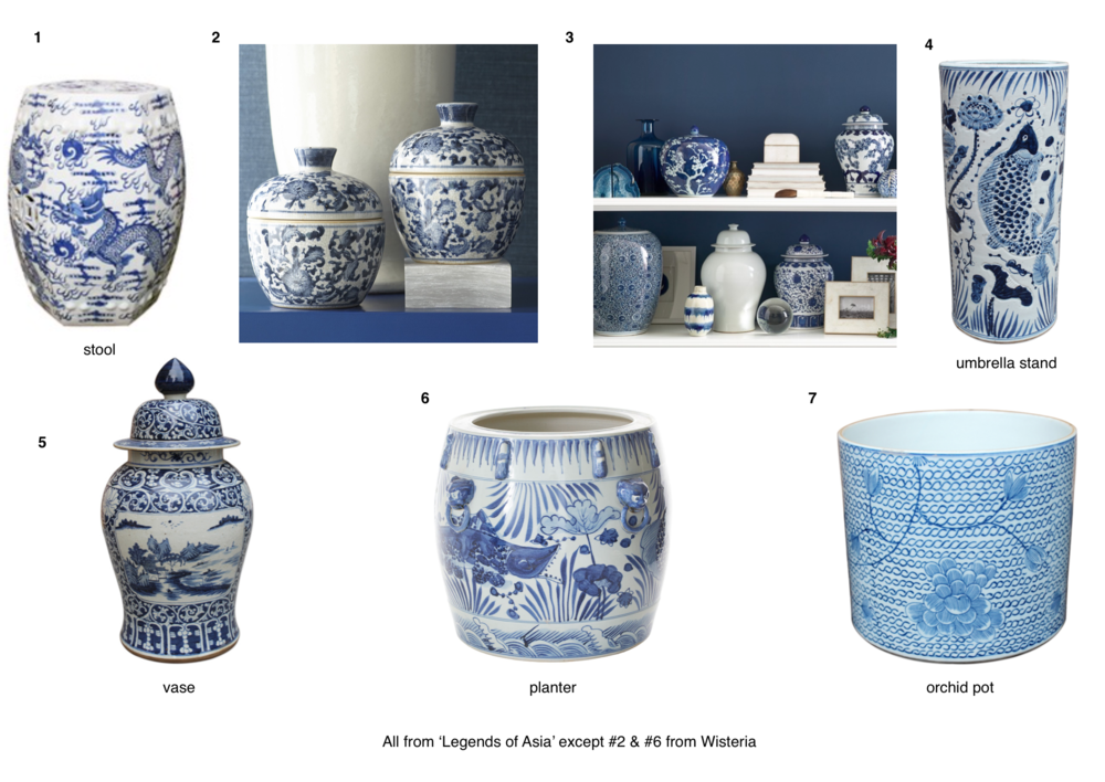 Blue and White vases, urns, pots, jars and planters are synomonous with the Chinoiserie style.