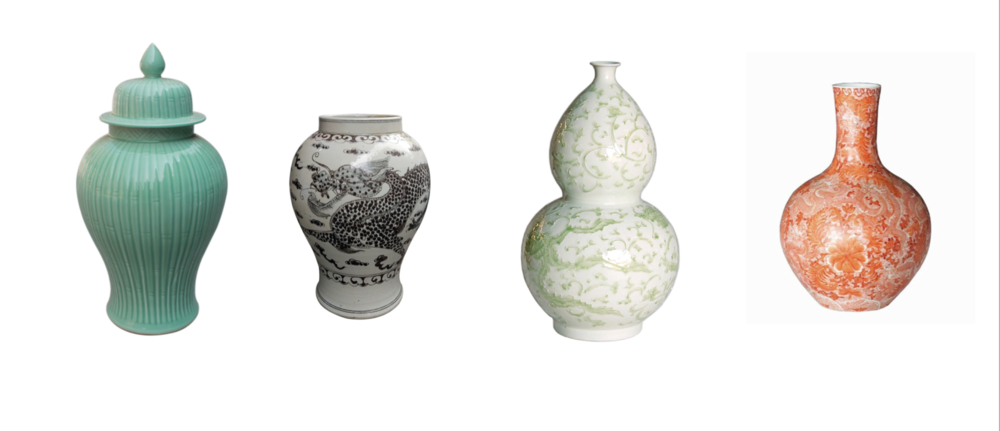 These vases, also from 'Legends of Asia' would be an alternative to the typical blue and white.