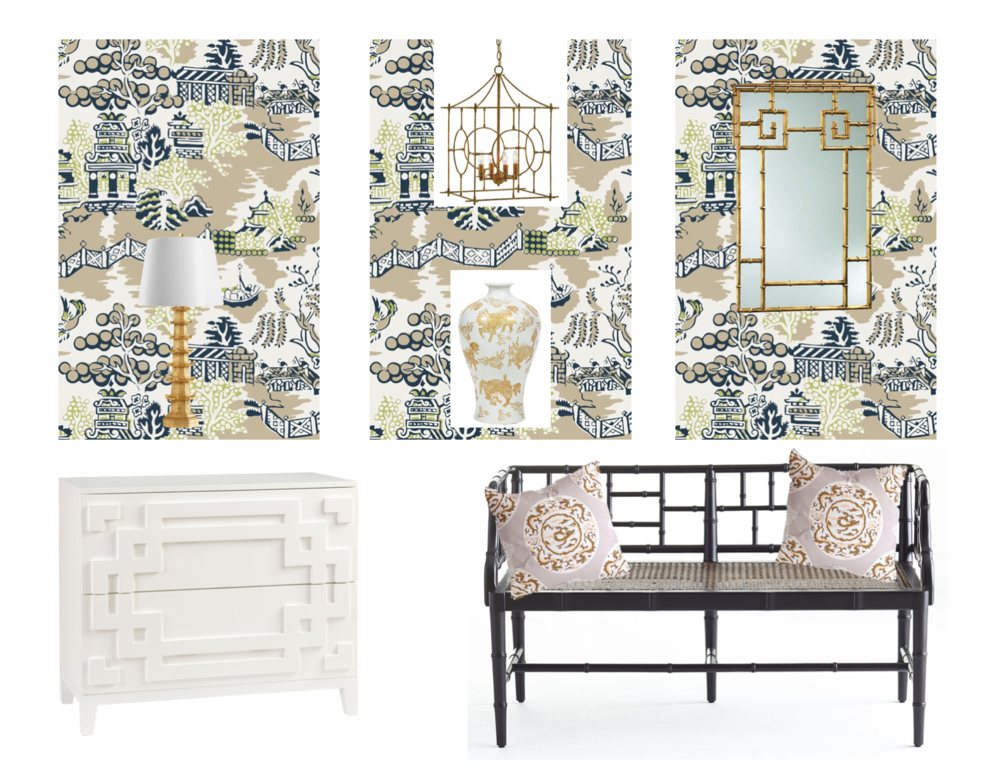 wallpaper: Schumacher, pendant light: Currey &Co, mirror: Cyan, table lamp: Bungalow 5, vase: Legends of Asia, chest: Wisteria, bench: Wisteria, cushion: Dana Gibson