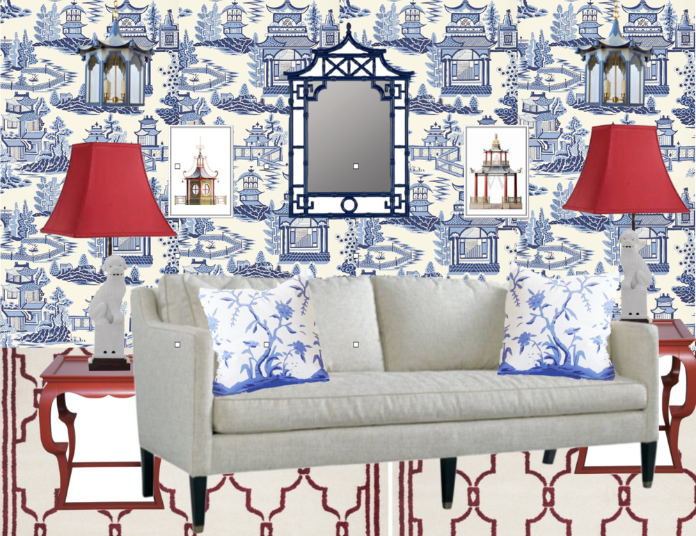 wallpaper: Shumacher, mirror: OKL, Foo-dog table lamps: Safavieh, side tables: OLK, sofa: OKL, cushions: Dana Gibson, rug: All Modern