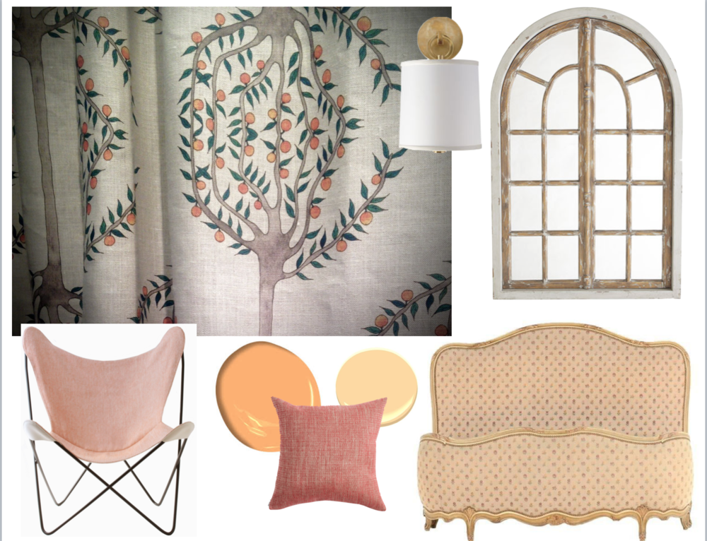 clockwise: Radish and Moon Orange Grove linen as curtains; wall sconce: Serena & Lily; mirror: Wisteria.com; bed: 1stDibs; cushion: Castel: paint: Benjamin Moore; chair: Castel