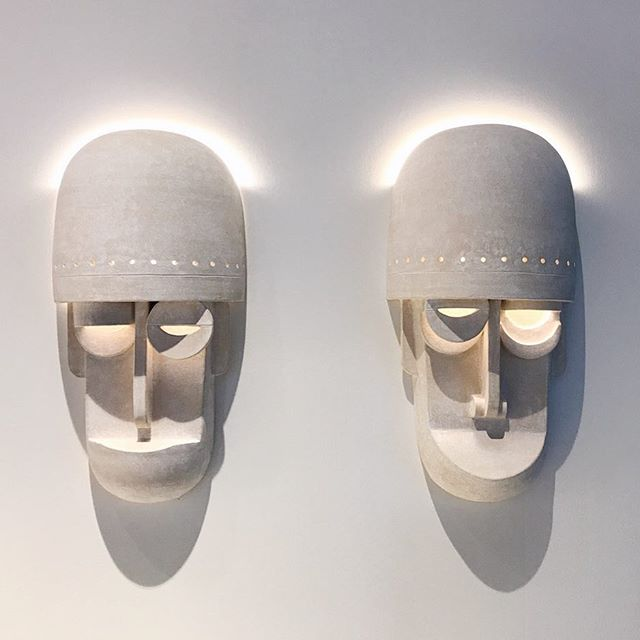 Mask sconces on view at @designmiami with @thefutureperfect until Sunday! #ericroinestad #thefutureperfect #designmiami