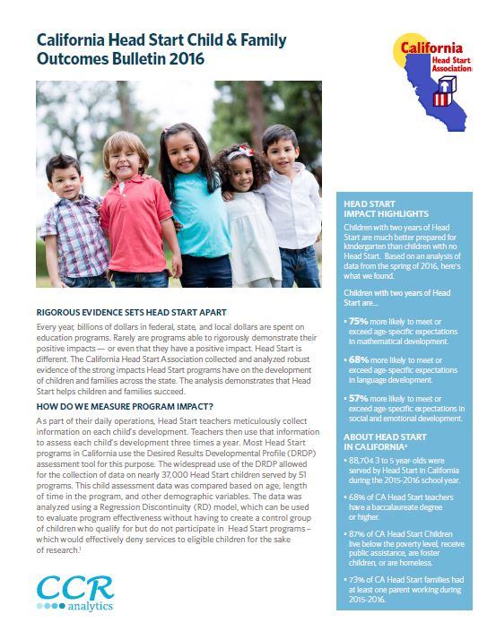 CAlifornia Head start Child and family outcomes bulletin 2016