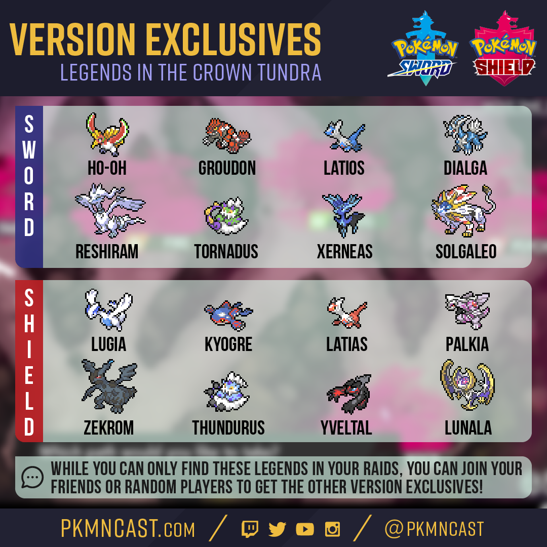 Legendary Version Exclusives For Pokemon Sword Shield Crown Tundra Dlc It S Super Effective A Weekly Pokemon Podcast