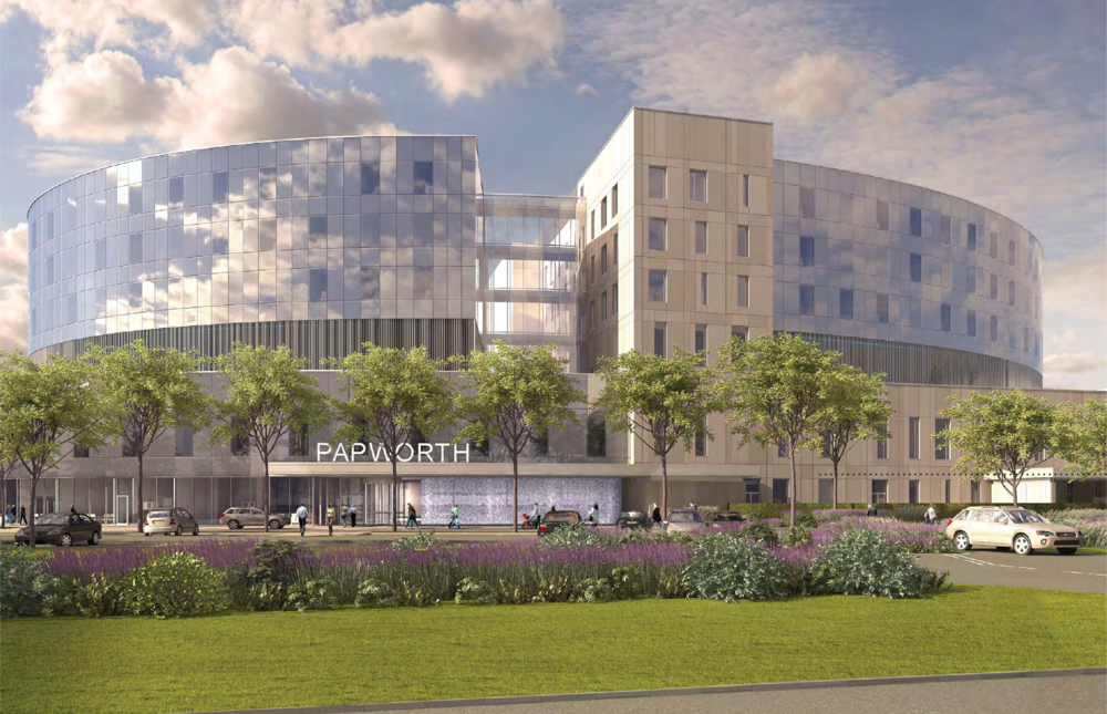 Architectural rendering of the new building at Cambridge Biomedical Campus ( Skanska / HOK )