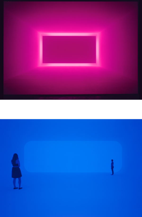 James Turrell ,  Raemar Pink White , 1969 (top)  Breathing Light , 2013 (bottom), courtesy of LACMA