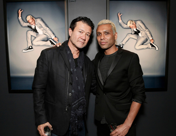 Photographer Steve Erle and Tony Kanal attend the opening of Exposure 2 Photo Exhibit hosted by Prevu on Thursday, June 28, 2012 in Los Angeles.(Photo by Todd Williamson/Invision for Prevu/AP Images)