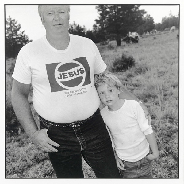 [Mary Ellen Mark, Biker with Jesus T-shirt, 6/1988, printed in 1992. Courtesy Amherst College]