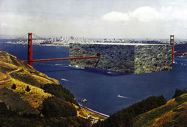 [Superstudio,  Cube of Forest on the Golden Gate , 1970-1971. Courtesy moca.org]