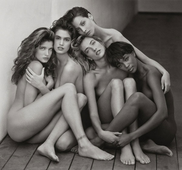Above: Versace Dress, Back View, El Mirage, Herb Ritts, 1990. Below: Stephanie, Cindy, Christy, Tatjana, Naomi, Hollywood, 1989.