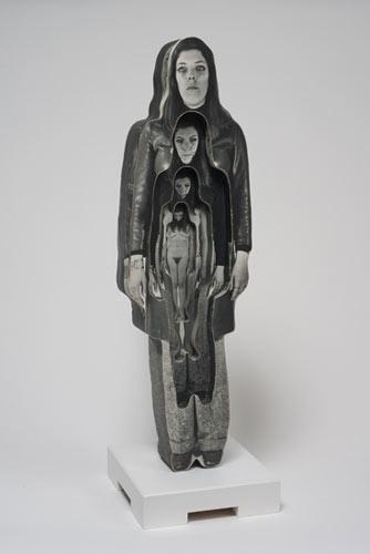 Dale Quarterman ,  Marvella , 1969, Photographs and Styrofoam with wood base, 29″ x 8.5″ x 3″