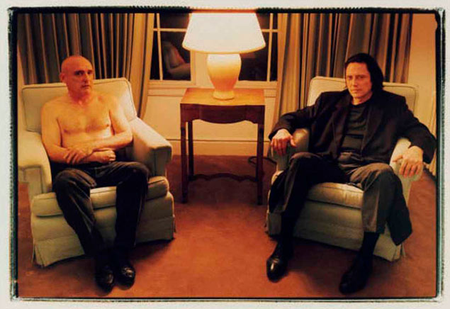 Annie Leibovitz, Portrait of Dennis Hopper and Christopher Walken at Chateau Marmont, 1995, chromogenic print, 7.8″ x 11.5″