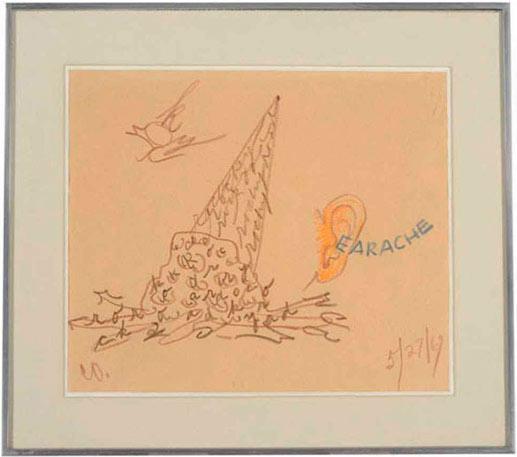 Claes Oldenburg,  Ear Ache , colored pencil on paper, 11″ x 12.7″