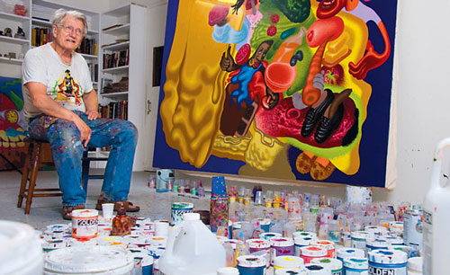 Peter Saul in his studio in Germantown, New York Photo by Zefrey Throwell via artinfo.com